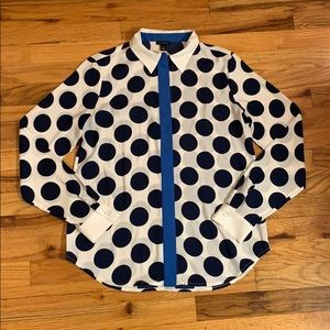 Ann Taylor Navy Polka Dot Work Shirt